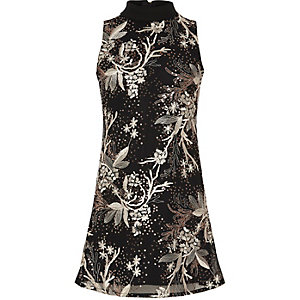Girls black A-line sequin dress