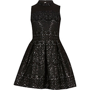 Girls black sparkly lace high neck prom dress