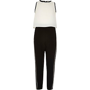 Girls white block layered jumpsuit