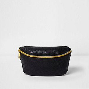 Girls black Mi-Pac snake embossed bum bag