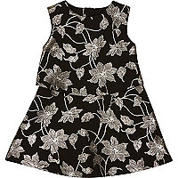 Mini girls black metallic floral dress