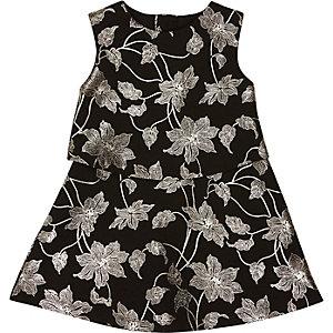 Zwart-metallic jurk met bloemen voor mini girls