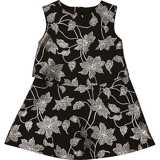 Mini girls black metallic floral dress