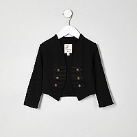 Mini girls black military jacket
