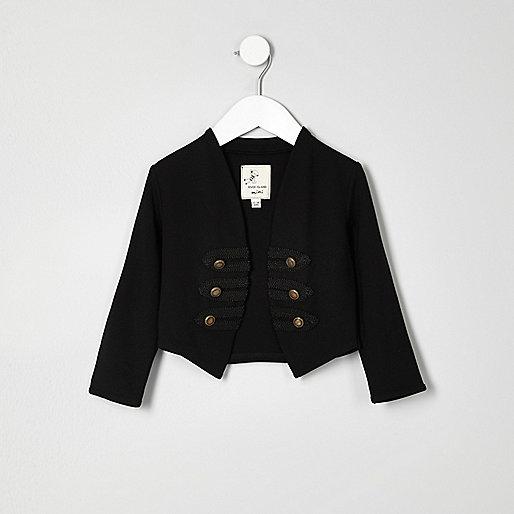 Mini girls black military jacket