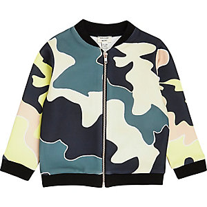 Mini girls green camo bomber jacket