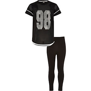Girls black mesh T-shirt and leggings set