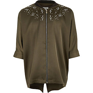 Girls khaki green stud zip shirt