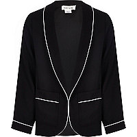Girls black blazer with white piping