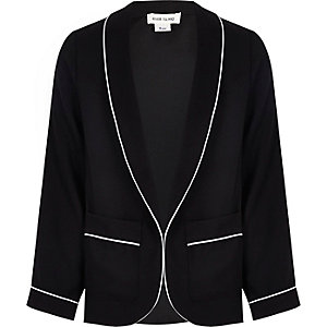 Girls black blazer with white piping