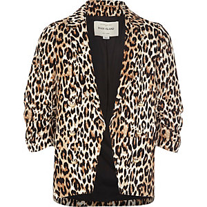 Girls leopard print ruched blazer