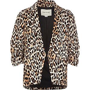 Girls leopard print ruched blazer