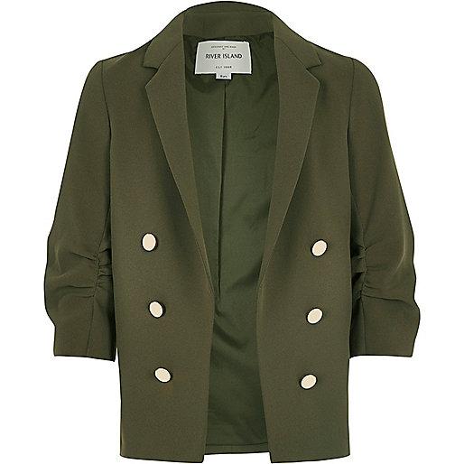 Girls khaki green ruched sleeve blazer