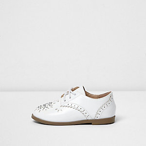 Mini girls white laser cut brogues
