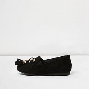 Zwarte loafers met kwastjes voor mini girls