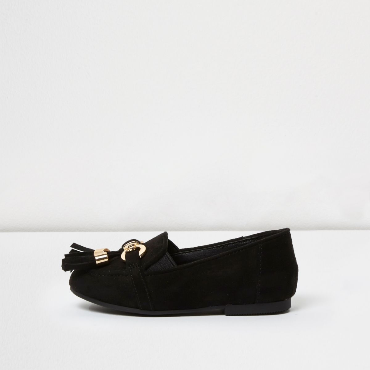 Mini girls black tassel loafers