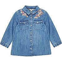Mini girls floral denim shirt