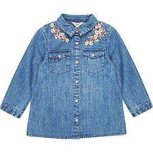 Chemise en jean imprimé fleuri pour mini fille