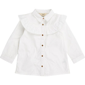 Mini girls white frill trim shirt