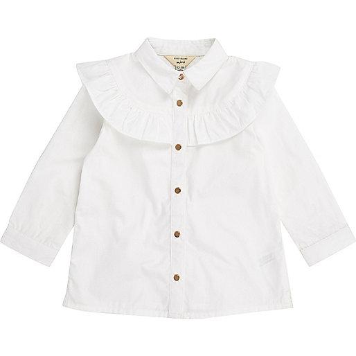 Mini girls white frill trim shirt