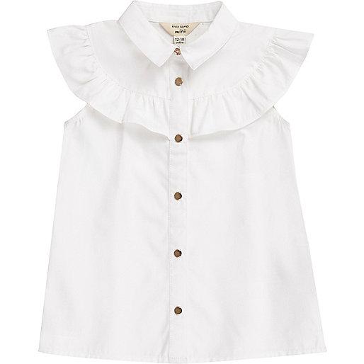 chemise blanche sans manches bord e de volants mini fille tops pour b b fille mini fille. Black Bedroom Furniture Sets. Home Design Ideas