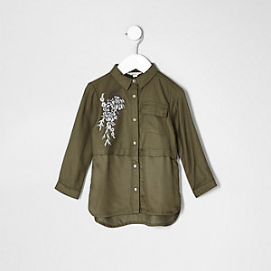 Mini girls khaki flower embroidered shirt