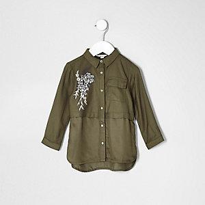 Chemise kaki à fleurs brodées mini fille