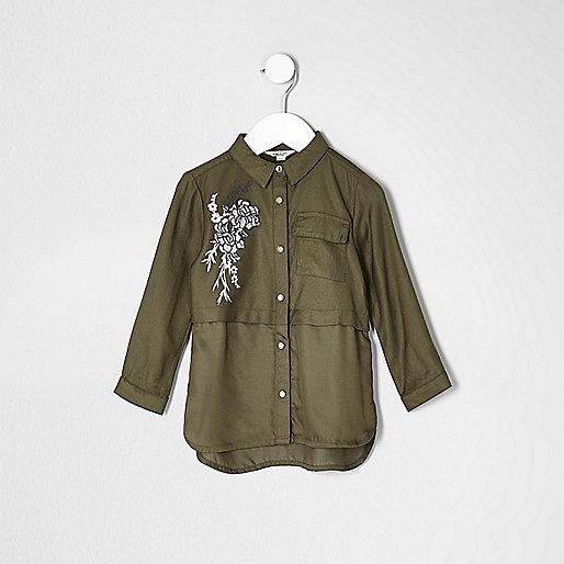 Mini girls khaki flower embroidered shirt