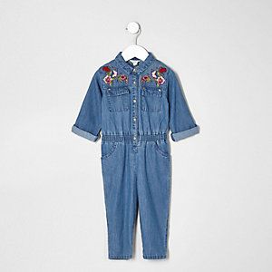 Mini girls denim embroidered jumpsuit
