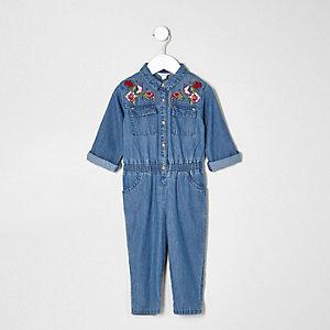 Combinaison en jean à motifs brodés mini fille