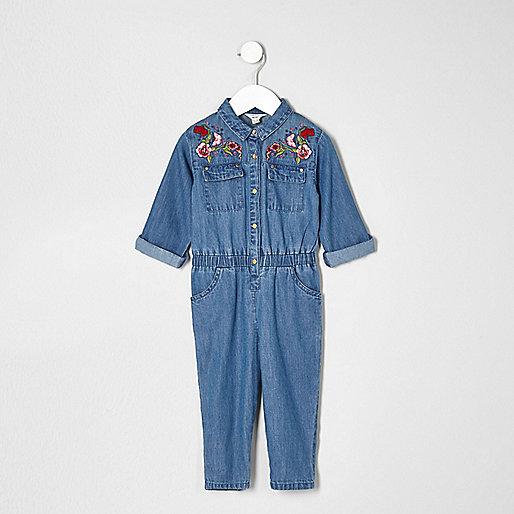 Mini girls denim embroidered jumpsuit