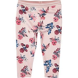 Leggings roses à imprimé floral mini filles