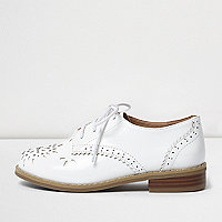 Girls white laser cut brogues