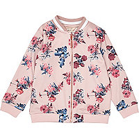 Mini girls pink floral print bomber jacket