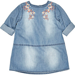 Mini girls blue embroidered denim dress