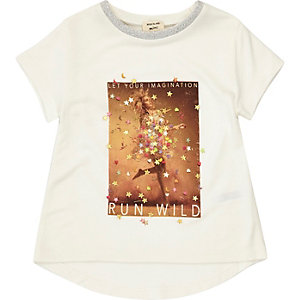 Mini girls white confetti print T-shirt