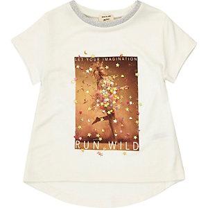 T-shirt blanc motif confettis pour mini fille