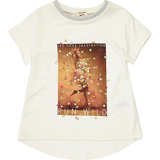 Mini girls white confetti print T-shirt
