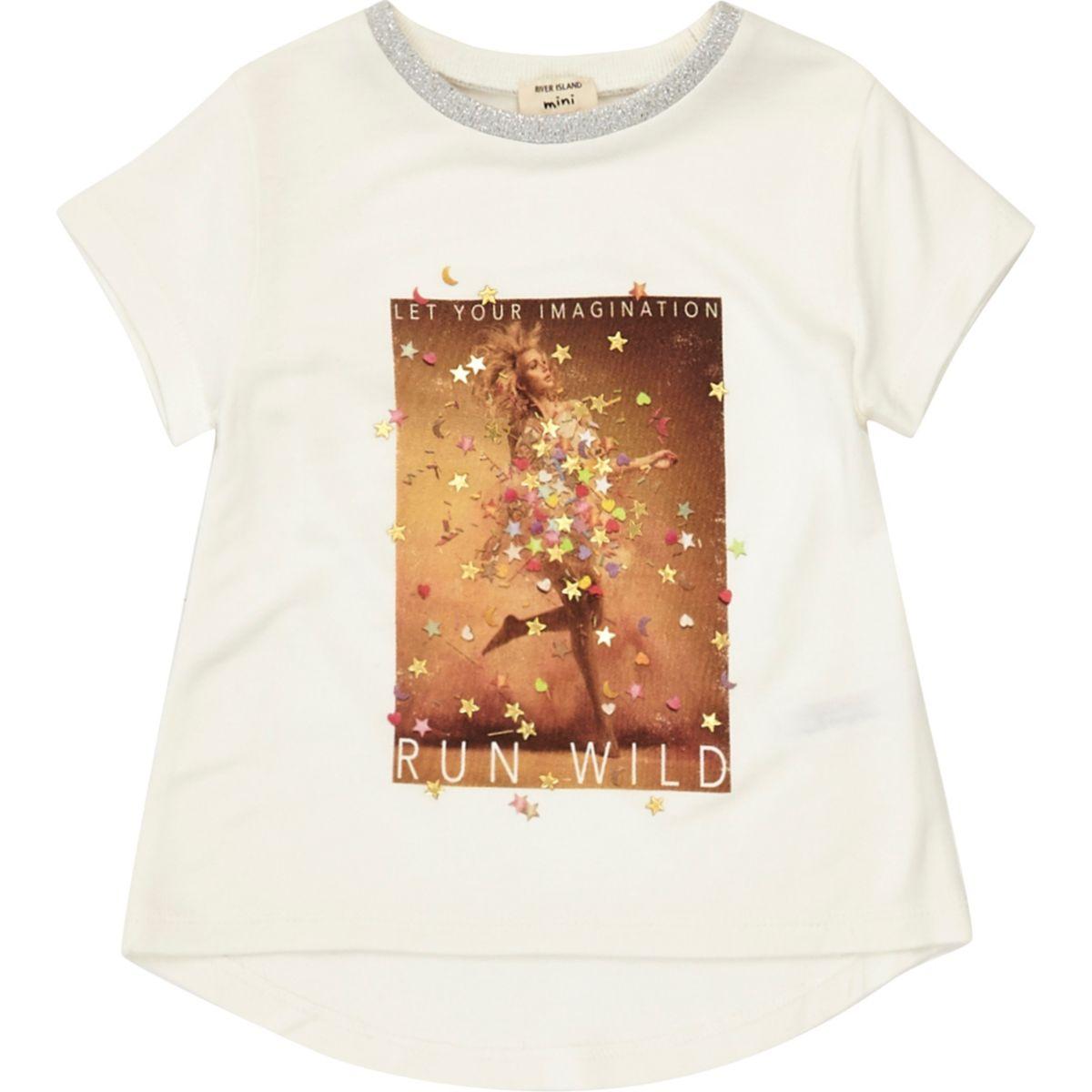 T-shirt blanc motif confettis mini fille