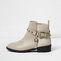 Girls beige western buckle ankle boots