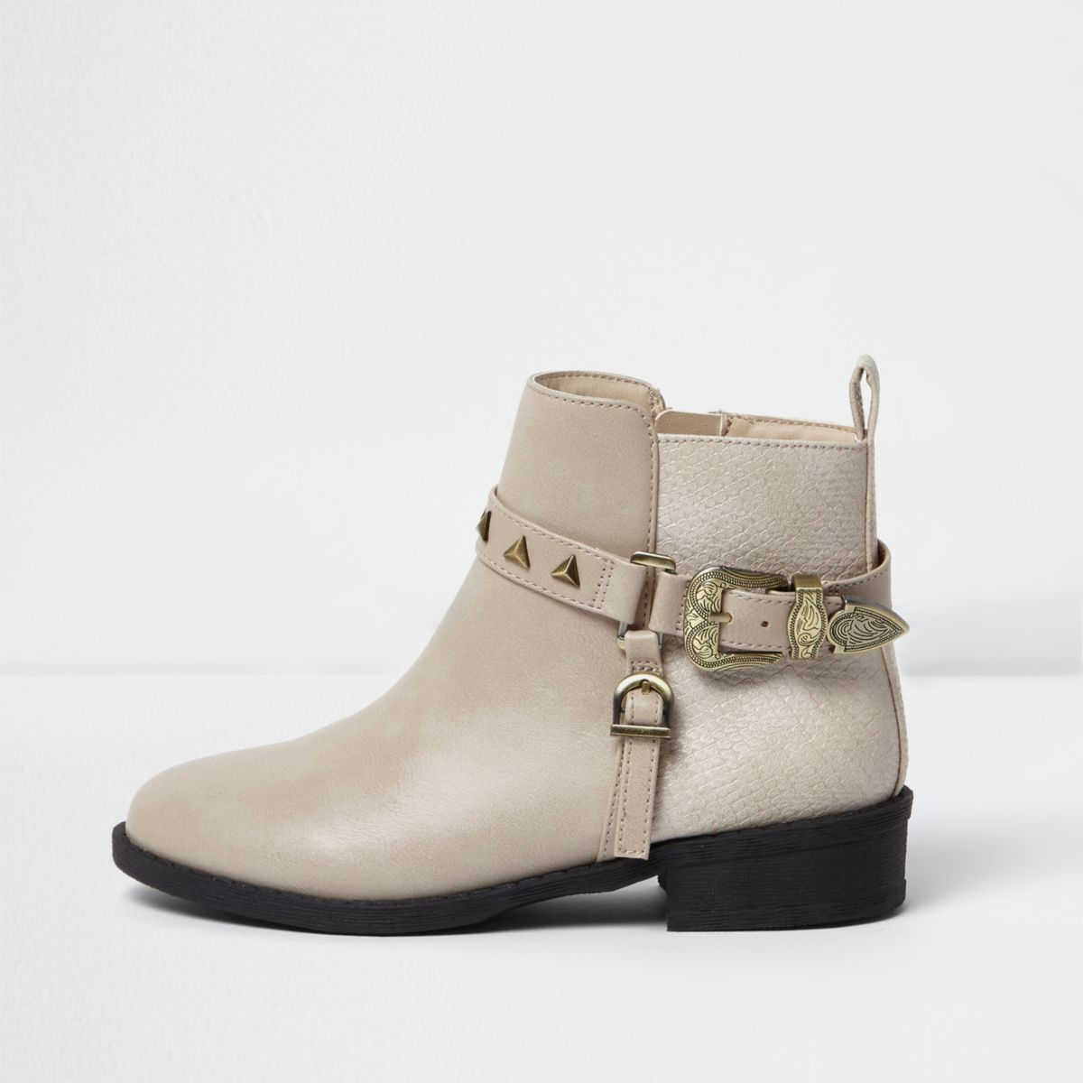 Girls beige western buckle ankle boots
