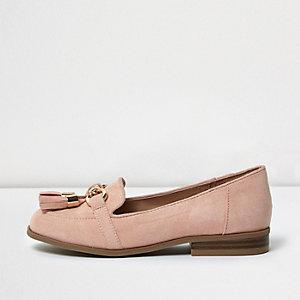 Girls pink tassel loafers