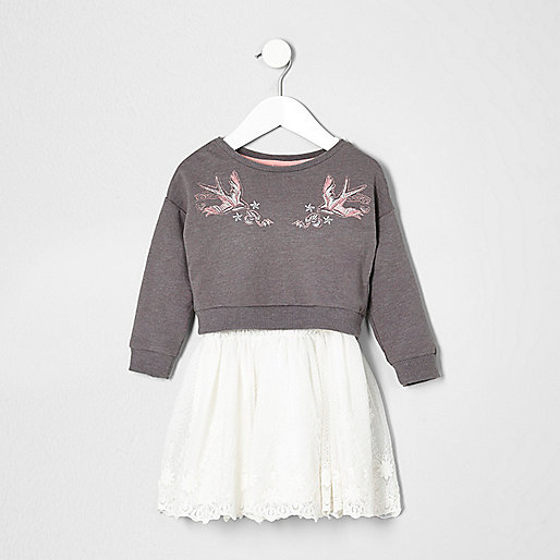 Mini girls embroidered 2 in 1 dress