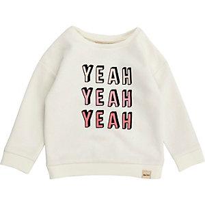 Mini girls white print sweatshirt