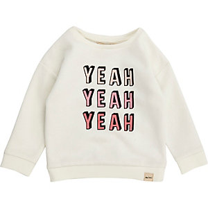 Mini girls white print sweatshirt