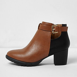 Girls two tone western heeled boots