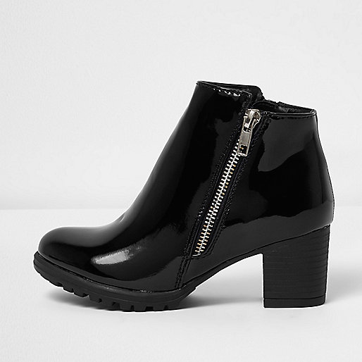 Girls black patent zip ankle boots