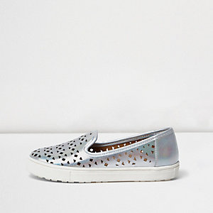 Girls metallic silver plimsolls