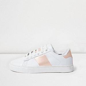 Girls RI Active white pink stripe trainers