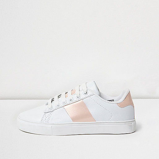 Girls white gold block trainers